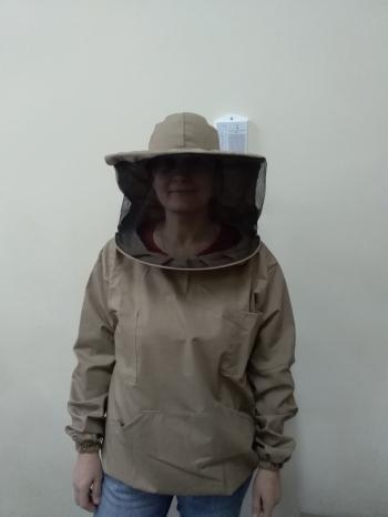 Куртка пчеловода коричневая ( Евро 1) маска на молнии